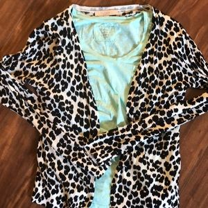 Loft black and white spotted cardigan